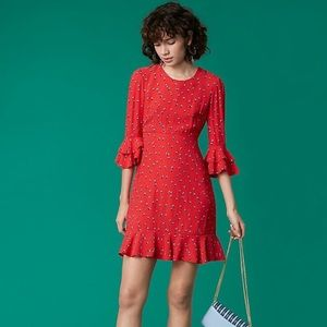 DVF West Rocan Candy Red L/S Ruffle Dress